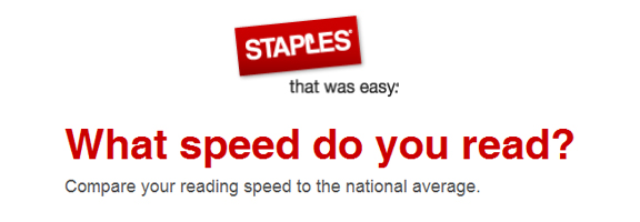 Staples eReader – Curious To Know How Fast You Read?