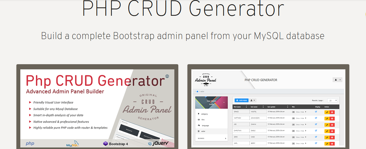 PHP CRUD GENERATOR- POWERFUL TOOL FOR YOU!