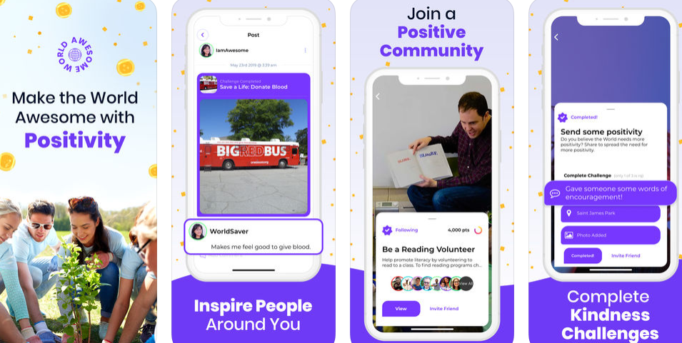 Awesome is a social app promoting positivity & helping great causes