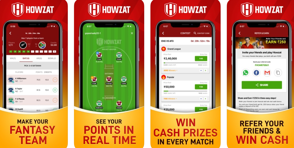 Download Howzat and Win Real Cash Every Day